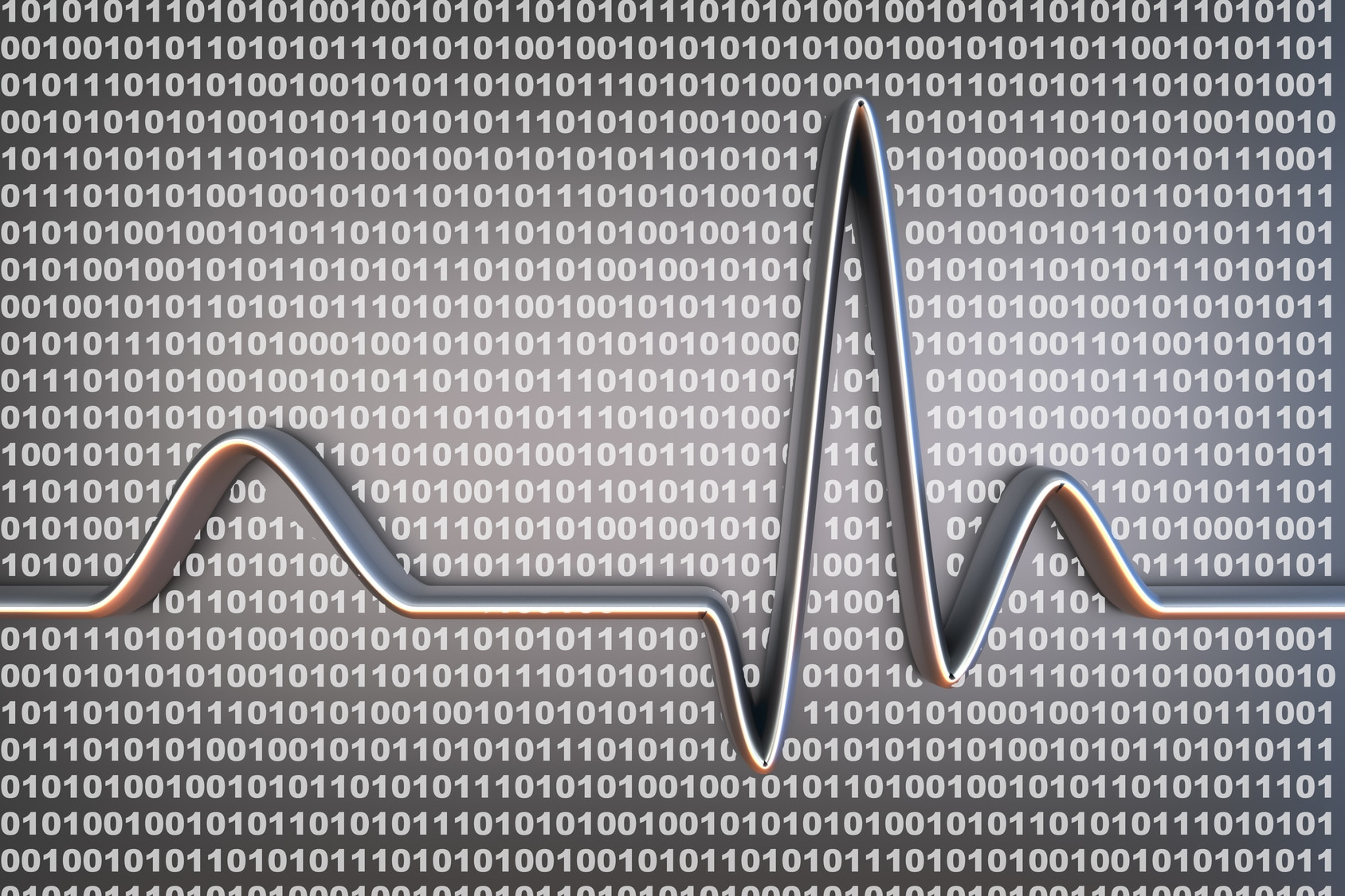 Binary code and a ECG line. 3D rendered Illustration.
