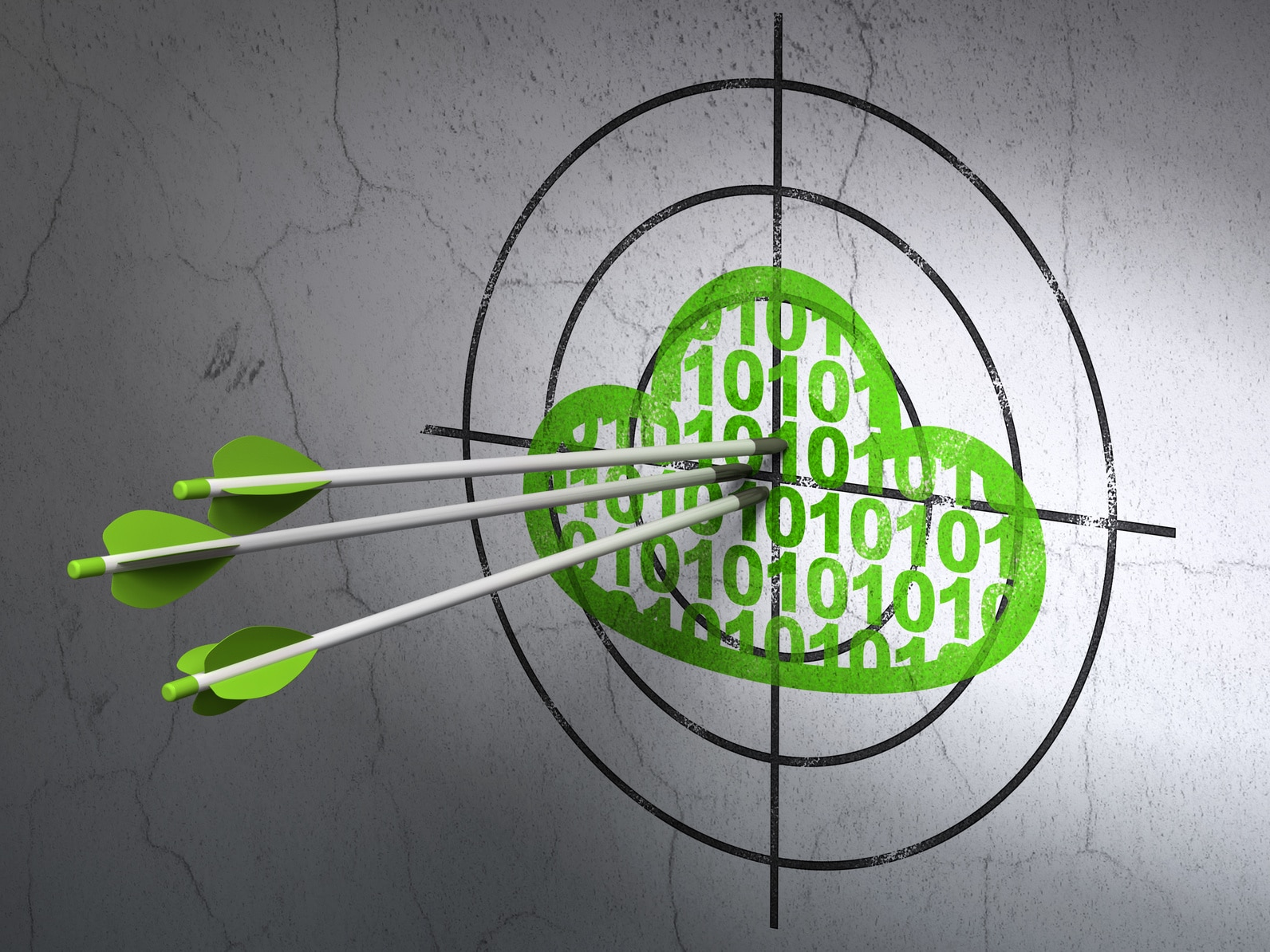 Success cloud technology concept: arrows hitting the center of Green Cloud With Code target on wall background
